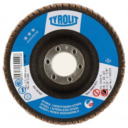 Tyrolit PREMIUM High Density JUMBO Zirconia Flap Discs for Steel and Stainless Steel-Type 29