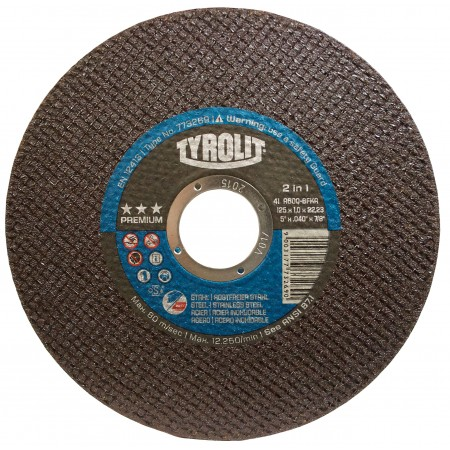 Tyrolit PREMIUM ULTRA-THIN 2-in-1 Wheels for Steel & Stainless Steel-NEXT GENERATION -Type 1