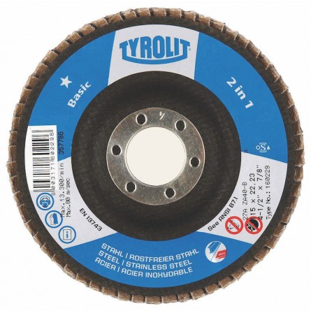 Tyrolit BASIC 2 in 1 Zirconia Flap Discs for Steel and Stainless Steel-Type 29