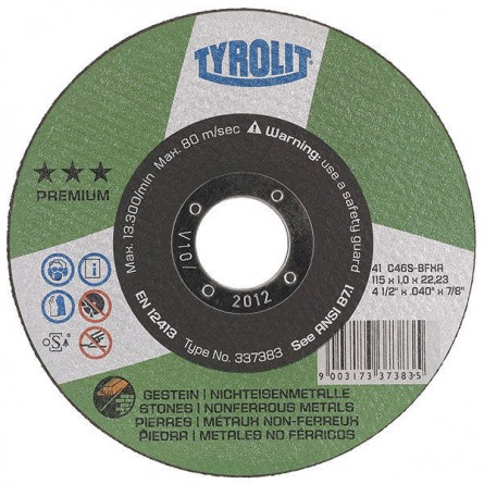 Tyrolit PREMIUM Super Thin Cutting Wheels for Aluminum & Stone-Type 1