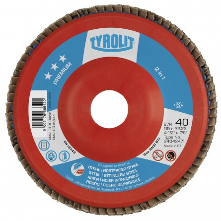 Tyrolit PREMIUM Zirconia Flap Discs for Steel and Stainless Steel-Type 27